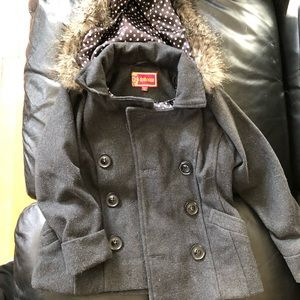 Girls grey peacoat with faux fur hood